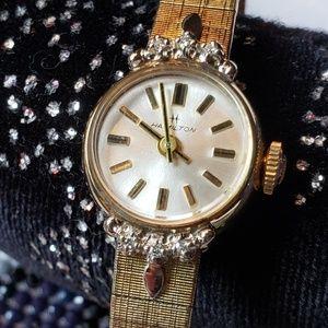 Vintage 1970s Hamilton 10k RGP Diamond Bezel